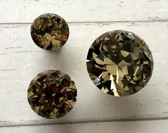 Brown Glass Knobs Crystal Knob Rhinestone Dresser Knobs Drawer Knob Pulls Handles Kitchen Cabinet Knobs Door Pull Knob Bling  ARoseRambling