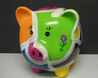 Large Flower Power Hippy Physcodelic Pig Coin Piggy Bank