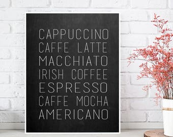 Coffee chalkboard, Coffee sign, Coffee poster, Cappuccino poster, Caffe latte poster, Kitchen poster, Kitchen wall decor, Coffee lovers gift