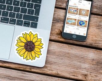 Sunflower Decal, Sunflower Laptop Sticker, Sunflower Sticker,