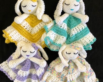 Bunny lovey stuffed animal security blanket doll; floppy ear bunny lovey, baby bunny security blanket; ready to ship in 4 different colors!
