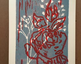 Original Red Rose and Baby's Breath Block Print Unframed