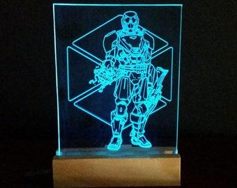 "Edge Lit Acrylic Sign (8"" X 6"") with Wooden Base - Destiny Titan"