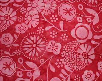 Pink Batik Cotton Fabric, Hoffman Fabrics Valentine, L2576-599, Floral Pink Batik, by the yard