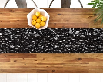 Black Geometric Table Runner // Table Linen // Kitchen Decor // Gossamer Design // Minimalist Geometric // Table Decoration // Black & White