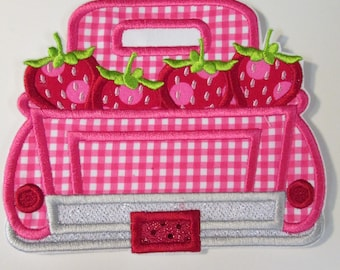 Iron On Applique - Strawberry Picking - Girl or Boy Trucks  - Now includes an Embroidered Name