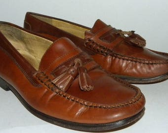 Men's Vintage Florsheim Tassel Loafers / Brown Leather Shoes / Men's Casual or Dress Shoes / Men size 7.5 D men / Women size 9.5