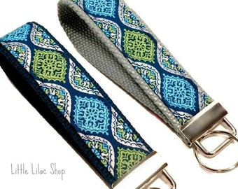 Key Fob, Key Chain, Key Fob Wristlet, New Driver Gift, Fabric Key Fob, Fabric Keychain, Blue,  Key Holder, Key Chain, Key Chain Wristlet