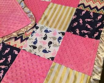 Girl Nautical Seahorse Blanket