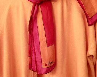 Vintage Vera Silk Scarf Neck Scarf Bright Red Pink Apricot Print Hand Rolled Hem