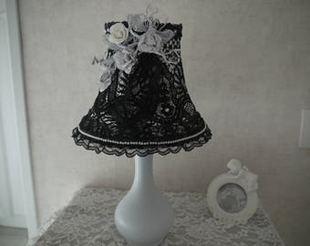 Black shabby chic Lampshade and lamp base