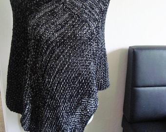 Black cape Poncho Jacket Silver Nightlife
