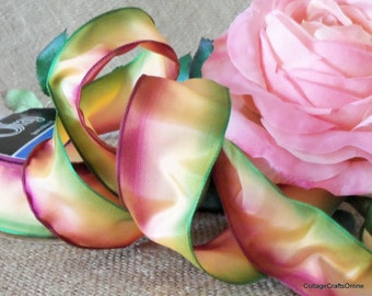 """Wired Ribbon, 1 1/2"""", Ombre Mauve, Peach and Green - FIFTEEN YARD ROLL - Offray """"Sorbet"""" Gradient Watercolor, Spring, Fall Wire Edged Ribbon"""