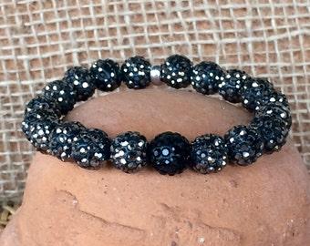 Black and dark gray pave rhinestone stretch bracelet