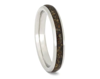 Crushed Dinosaur Bone Wedding Band, Dainty Platinum Ring For Her Existing Engagement Ring, Fossil Wedding Ring