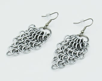 Triangle Chainmail Earrings, Silver Earrings, Dangle Earrings, Drop Earrings, Handmade Jewelry, Statement Earrings, Handmade Earrings