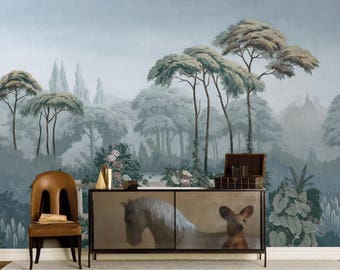 Big Sale: Vintage Scenic Removable Wallpaper Retro Zuber Style Wall Mural Misty Forest Garden Landscape Self-adhesive Wall Decal