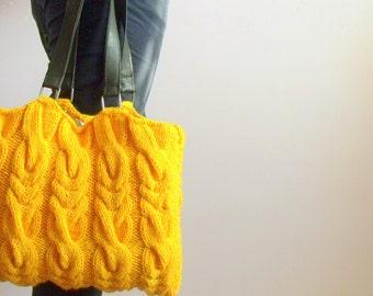 HANDKNIT BAG , Mustard handknit bag , Shoulder Bag , Handbag , handwork gift , gift for her ,   Easter gift ,