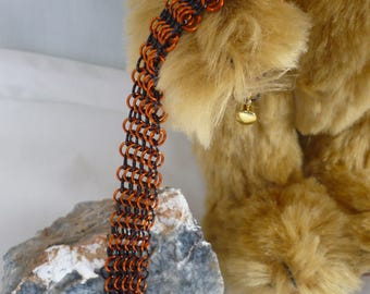 Chain maille European weave bracelet orange and black