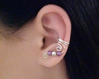 Silver Drop Ear Cuff Purple Silver Ear Wrap