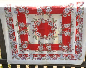 Vintage Red Floral Tablecloth, Red and white tablecloth, Square Tablecloth