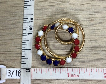 Vintage Gold Toned Pin Brooch Red White Blue Rhinestones Circular Used