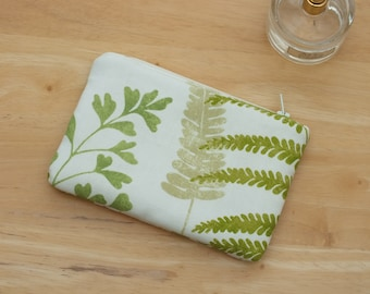 Fern Small Makeup Purse, Cosmetic Zippered Pouch