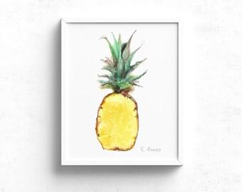 Pineapple art print - Tropical Fruit Decor - Kitchen Wall Art - Pineapple Illustration - Dining Room Art - Food Illustration