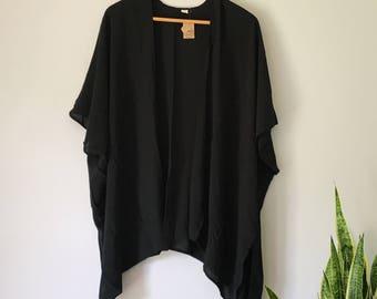 Black Kimono with Black Fringe