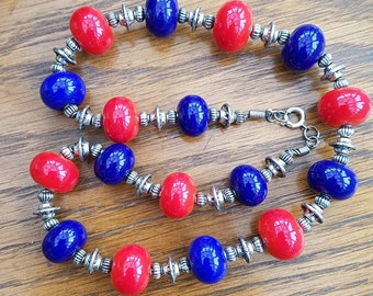 Red Blue and Silver Lampwork Bead Necklace