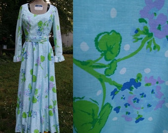Vintage Dress , 70s Maxi Dress,, 70s Dress, Vintage Costume, 70s Costume, Ruffled Dress, Vintage Maxi Dress, Jay Anderson, Dress Size 2