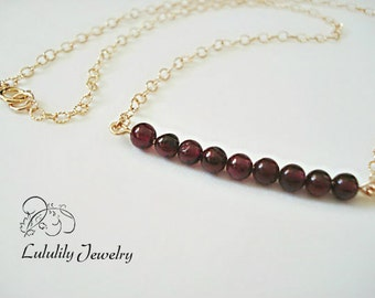 Garnet Bar Necklace, Garnet Beaded Bar Necklace, January Birthstone