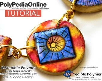 Polymer Clay Tutorial, DIY Beads, Polymer Clay Jewelry, Jewelry Tutorial, Necklace Tutorial, DIY Handmade Bead, Alcohol Ink, Video, Art