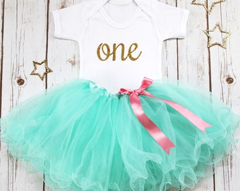 1st Birthday Outfit, First Birthday Outfit Girl, Aqua Tutu Outfit, One Bodysuit, Baby Girl Party Outfit, Cake Smash Outfit, Toddler Outfit