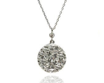 Ice Crystal Round Medal Pendant .925 Sterling Silver Necklace