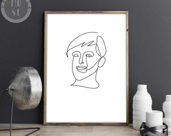 Single Line Character Art : Line art sketch etsy