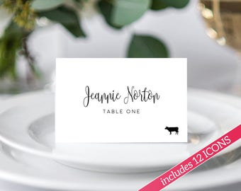 Place Card Template, Place Cards with Meal Choice, Place Cards Wedding, Place Cards Printable, Place Cards With Meal Icon, Escort Cards