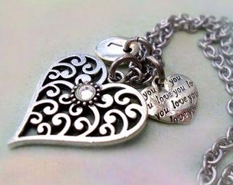 April Birthstone Necklace, Filigree Heart w-Letter & Heart Charms, April Birthday Gift, Aries, Taurus, Swarovski Birthstone Crystal