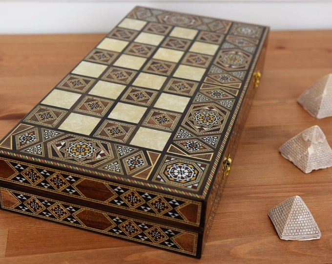 Featured listing image: Backgammon, Backgammon Board, Chess Board, Wooden Backgammon, Carved Backgammon, Syrian artisan mosaic backgammon, Marquetry Backgammon