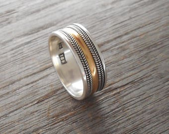 Balinese Sterling Silver granulation technique gold band ring / silver 925 / Bali handmade jewelry
