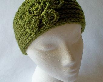Crocheted Womens Flower Headband Ear Warmers