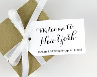 Welcome to New York Tag - LARGE Size - Wedding Favor Tag - Custom Tag - 36 Pieces - 3.5 x 2 inches
