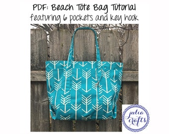 PDF Tote Bag Beach Bag Pattern Tutorial - features 6 pockets and key hook