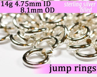 14g 4.75mm ID 8.1mm OD silver filled jump rings -- 14g4.75 jumprings links silverfilled silverfill