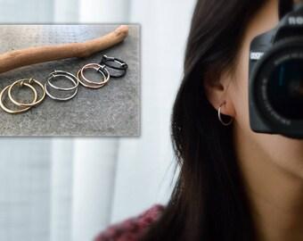 Hoops 20mm Clip On Earrings, Clip On Hoop Earrings, Non Pierced Earrings Clip On Earrings Modern. Non Pierced Pierced looked.