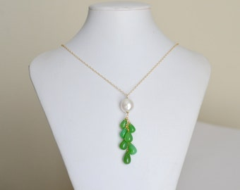 Green Onyx Necklace in 14k gold filled, Pendant, Cluster, Cascade, wire wrapped, Jumbo Freshwater Pearl, Smooth Drops