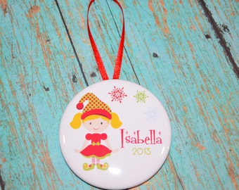 "2.25"" Personalized Girl Elf Christmas Ornament"