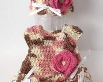 Hand Crocheted Preemie Sack with Matching Hat & Mittens - Any Color Combo
