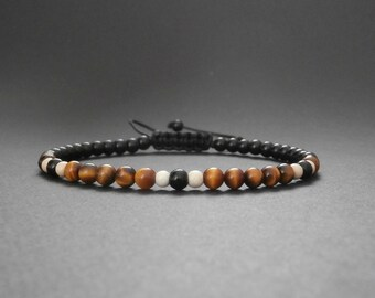 Bracelet fine man natural Tiger eye, ivory Jasper and onyx stones