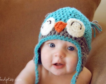 Happy Owl Crochet Hat - Custom - Choose Your Own Colors and Size